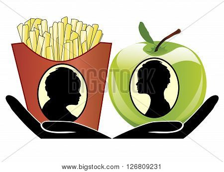 Food Choice Concept. Woman can choose either junk food or health food which will influence her appearance
