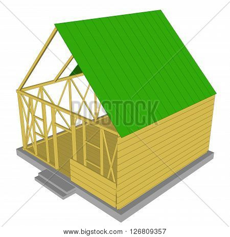 Vector Ecology green house. House in cut. Detailed modern house interior. Rooms with furniture.  3d style vector illustration. 5