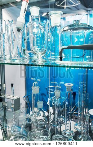 MOSCOW RUSSIA - April 122016: 14th International Exhibition of laboratory equipment and chemical reagents in Moscow.Medical and laboratory equipment at the exhibition.Focus on of laboratory flasks