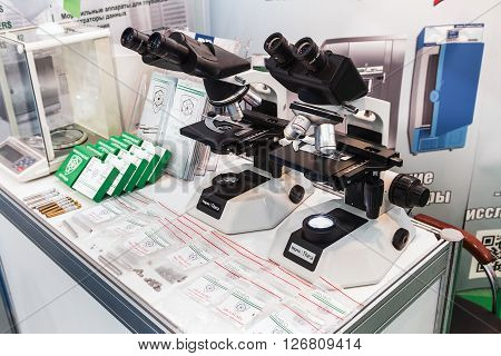 MOSCOW RUSSIA - April 12 2016: The 14th International Exhibition of laboratory equipment and chemical reagents in Moscow. Medical equipment at the exhibition. Focus on of laboratory apparatus