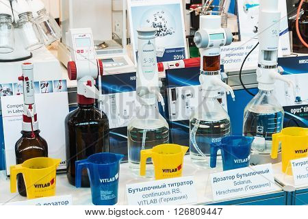MOSCOW RUSSIA - April 12 2016: The 14th International Exhibition of laboratory equipment and chemical reagents in Moscow. Medical and laboratory equipment at the exhibition. Focus on of laboratory apparatus