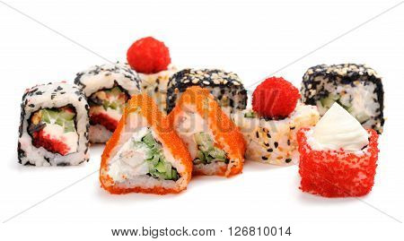 Set of various japanese fusion rolls isolated closeup