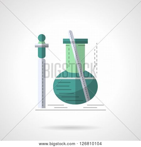 Green bulb with tube and stick. Laboratory equipment for biochemical studies. Biotechnology, chemical experiment. Flat color style vector icon. Web design element for site, mobile and business.