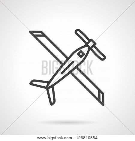 Plane with wings, biplane. Air transportation. Tourism. Air show and sport. Army equipment and UAV. Simple black line vector icon. Single element for web design, mobile app.