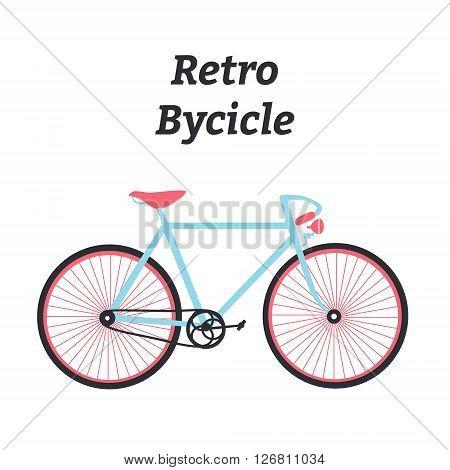 Vintage bycicle. Flat bike. Retro bike. Vector illustration.