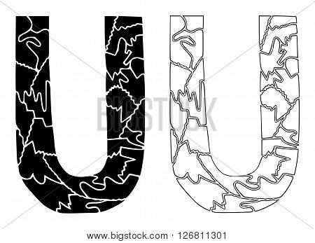 On this illustration is black and white version of letter u.