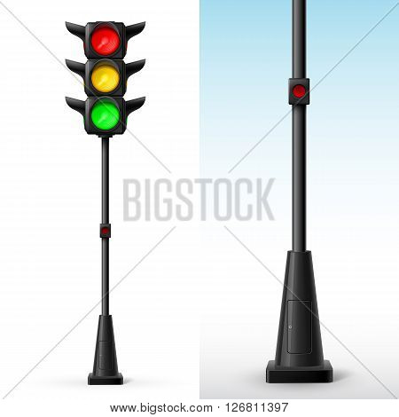 Traffic light with all colors on with button for pedestrians