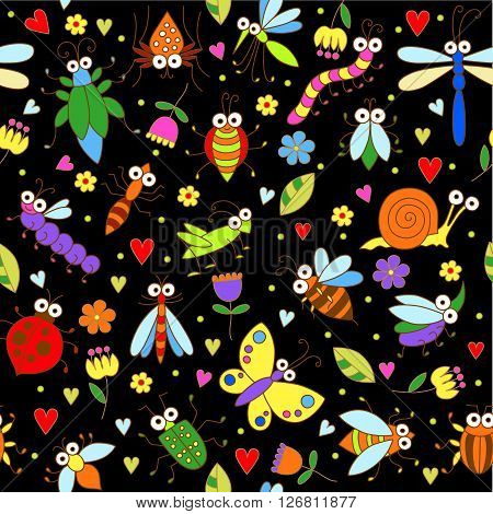 Seamless background with funny cartoon insects. Cute fly, butterfly, dragonfly, snail, beetle, ant, spider, ladybug, grasshopper, bee, mosquito. Childish illustration in cartoon style.