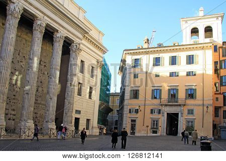 Rome, Italy - December 20, 2012:  Hadrian Temple Colonnade In Rome, Italy