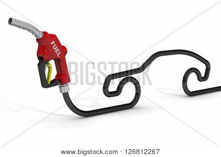 Automotive refueling gun. Car fuel nozzle and the hose in the shape of the car symbol. Isolated. 3D Illustration