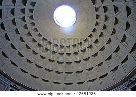 Rome, Italy - December 20, 2012:  Dome Of Rome Pantheon With Oculus. Rome, Italy