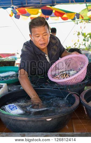 Rayong Thailand - December 31 2015 : Thai seafood market at Laem Mae Phim Beach on Kram Klaeng Rayong Thailand.