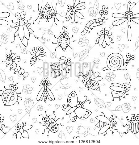 Seamless background with funny cartoon insects. Silhouettes of fly, butterfly, dragonfly, snail, beetle, ant, spider, ladybug, grasshopper, bee, mosquito. Childish illustration in cartoon style.