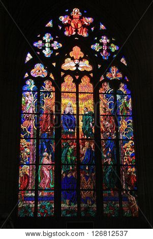 Prague, Czech Republic - April 23, 2013: Stained-glass Window In St. Vitus Cathedral In Prague, Czec