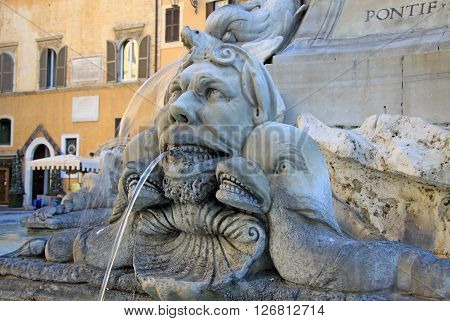Rome, Italy - December 20, 2012: Fountain Of The Pantheon (fontana Del Pantheon) At Piazza Della Rot