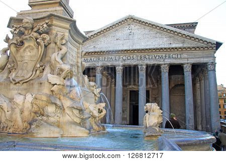 Rome, Italy - December 20, 2012:  The Pantheon In Rome, Italy