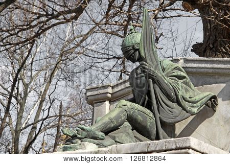 Moscow, Russia - April 24, 2004: Statue Of The Knight In Novodevichy Convent, Moscow