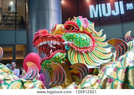 Bangkok Thailand - February 8 2016 : Dragon and lion dance show in chinese new year festival.