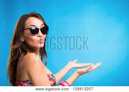 Woman Pointing Her Side