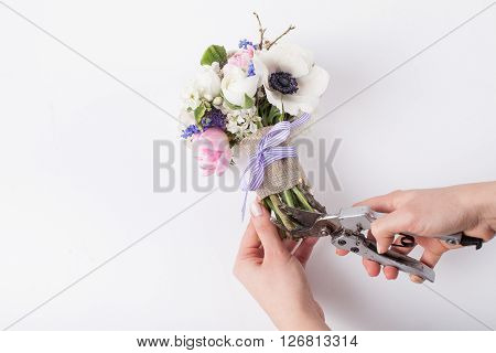 Florist is prepering a bouquet from pink tulips violet grape hyacinths white anemones violet veronica and white buttercup with violet ribbon using pruning scissors