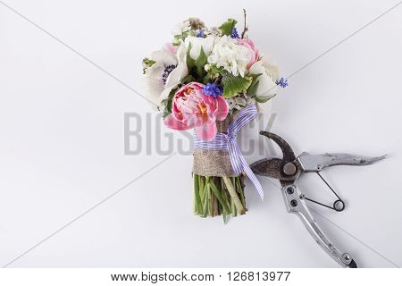 bouquet from pink tulips violet grape hyacinths white anemones violet veronica and white buttercup with violet ribbon and pruning scissors lying on white background