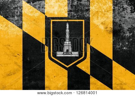 Flag Of Baltimore, Maryland, With A Vintage And Old Look