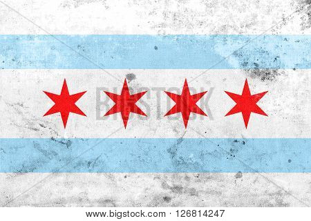 Flag Of Chicago, Illinois, With A Vintage And Old Look