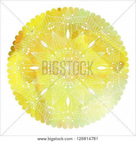 Mandala  colorful watercolor. Beautiful round pattern. Detailed abstract pattern. Decorative isolated.