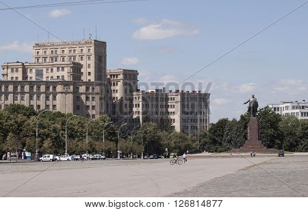 KHARKIV UKRAINE - JUNE 30 2014: National University named Karazin at the Freedom Square in Kharkiv - one of the oldest universities in the country