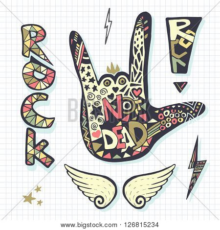 Rock not dead hand sign silhouette grunge template for music print or stickers.