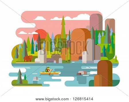 Rafting on river flat style. Outdoor adventure summer, raft extreme, tourism travel activity, forest and rock, boating transport canoe. Flat vector illustration