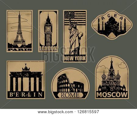 Vintage paper landmarks travel labels. Stickers of travel: Paris, London, New York, Moscow, Berlin, Rome, Agra. Vector illustration. EPS 10