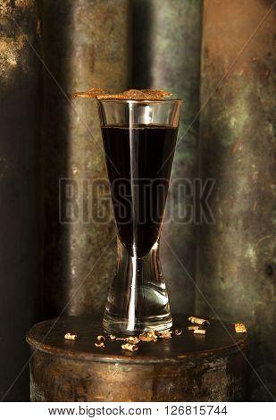 Scottish Russian alcohol cocktail in a bar made of single malt scotch whiskey liker Maraschino kvas syrup