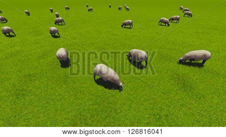 Beautiful landscape - hills covered by green grass with herds of sheep 3d rendering 3