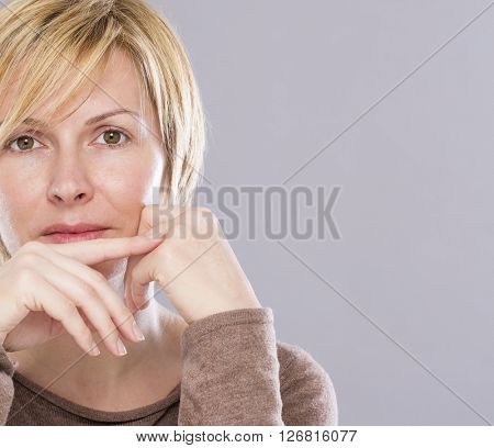 Forty years old woman face