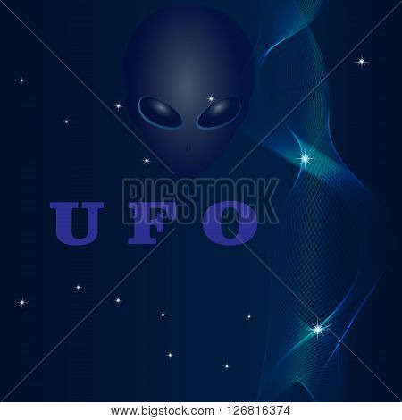 UFO alien spiral vector Cassiopeia Big Dipper stars abstraction