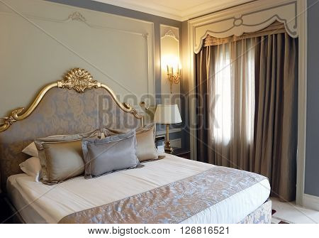 Side, ANTALYA, TURKEY - JUNE 02, 2015: Interior of bedroom in grey tones in the high class hotel of Turkey.