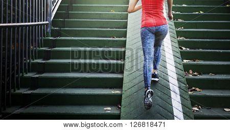 Female Athlete Exercise Running jogging Lady Concept