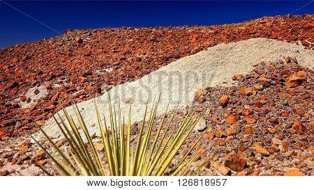 Rocky desert landscape with rocks of different colors at Big Bend National Park