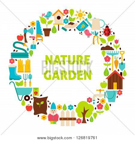 Flat Circle Set Of Nature Garden Objects Over White