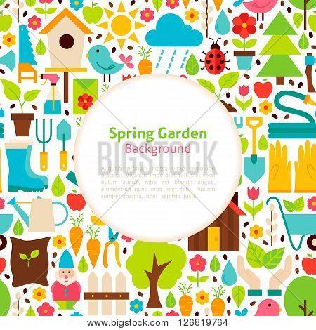 Flat Spring Garden Vector Background