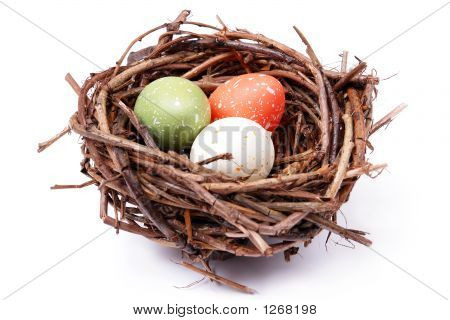 Three Speckled Eggs In Nest