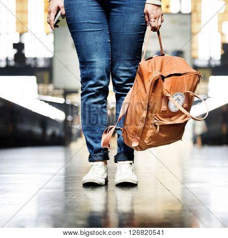 Backpacker Departure Wanderlust Travel Trip Concept