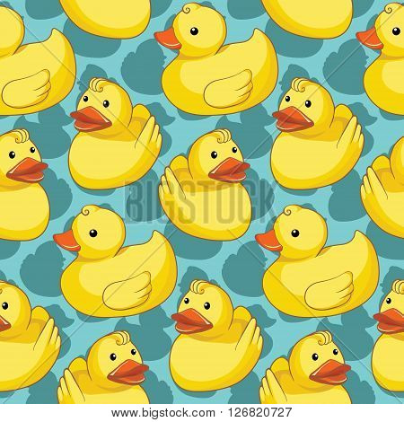Seamless vector pattern with yellow ducks design