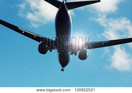 Aircraft jet in sunlight