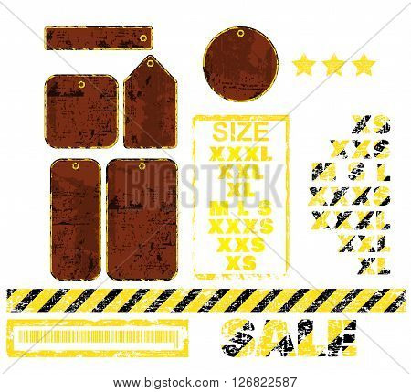 vector blank tags with different shapes in the form of rusty metal and inscription sale of black and yellow stripes Sizes
