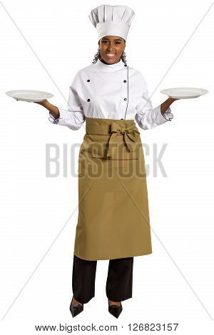Chef Showing Empty Plate. Woman Cook Or Chef Serving Empty Plate Smiling Happy.