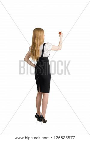Rearview of businesswoman isolated on white background writing something