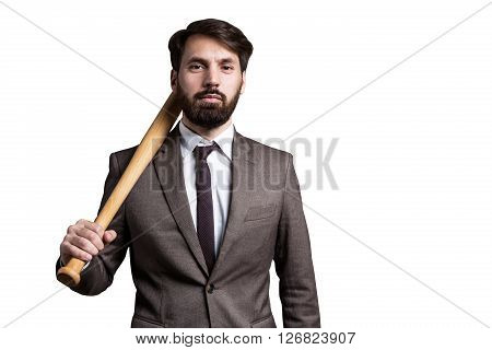 Isolated Businessman With Bat