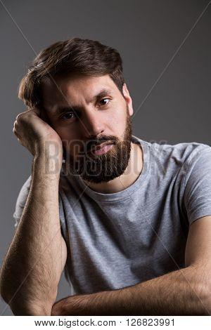 Man Head Leaning On Hand